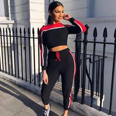 a6214a8fd04 Euro Hot Sale Colorblock Cropped Tracksuit. Tracksuit BottomsRed  TracksuitSport CasualSuits For WomenTwo Piece SetsTwo ...