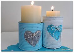 I'm thinking these would be cheap and excellent candle centerpieces for the wedding! I can either spray paint white or leave them silver....wrap in burlap and lace...and make raffia or jute bows! And the best part is the cans will catch the wax as the candle melts:) they will burn for hours! Adorable! :)