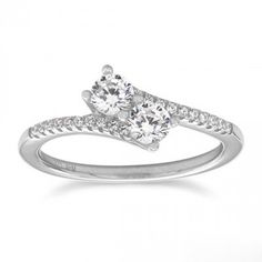 Rhodium Plated Double CZ Ring with CZ Band | Bijou Boutik $24