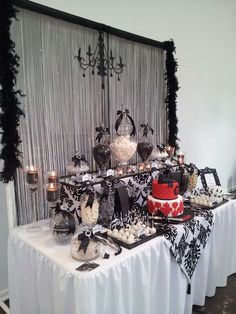 Black And White with a touch of red lolly buffet Birthday Party Ideas | Photo 3 of 14 | Catch My Party