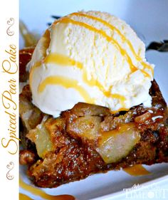 This delicious Spiced Pear Cake is just begging for a scoop of vanilla ice cream with a caramel drizzle! | MomOnTimeout.com | #recipe #dessert #cake