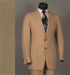 Vintage Men's Suit 1970s CHRISTIAN DIOR Oatmeal by jauntyrooster, $225.00
