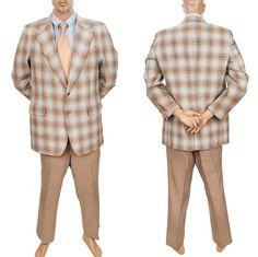Vtg Elkridge Plaid Retro Sport Coat Mens 43R Leisure Suit Jacket Pant 2 Pc 39x30 #MensSuit #SomeLikeItUsed