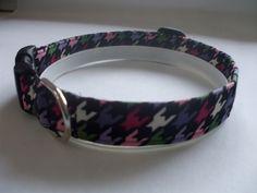 Handmade Cotton Dog Collar - Colorful Geometric Shapes on Black by WalkingTheDog on Etsy