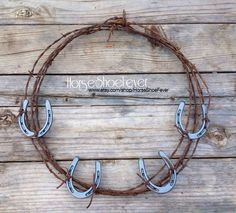 $44.99 © Old Shabby Pony. Horseshoe Barbwire Wreath 18.  By HorseShoeFever. Horses, Pony, Livestock,Farm, Rustic, Ranch, Rodeo, Country Christmas, Western, Birthday, Wedding Decor, Present, Beef, Cattle, Cowboy, Cowgirl, Bar, Kitchen