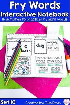 Fry First 100 Set 1 Sight Word Interactive Notebooks Set 10 Fry Sight Words, Fry Words, Teaching Sight Words, Kindergarten Language Arts, Kindergarten Readiness, Word Board, Word Work Activities, Struggling Readers, High Frequency Words