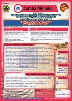 Lomba Menulis Opini Gotong Royong 2015 Tingkat Provinsi Jawa Tengah  DEADLINE: 3 April 2015  http://infosayembara.com/sayembara.php?judul=lomba-menulis-opini-gotong-royong-2015-tingkat-provinsi-jawa-tengah