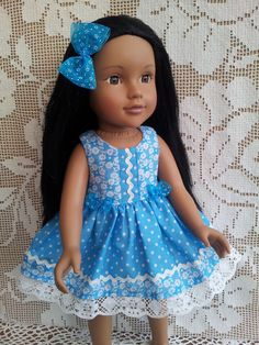 SalStuff, Turquoise Polka Dot & Flower Dress Gotz Designafriend doll clothes