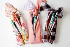 how to sew a bow pencil pouch