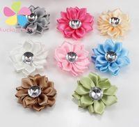 12pcs 40mm polyester flower heads  rosette bow handmade headwear diy  hair-bow & sewing materials 012004009