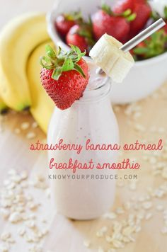 This Strawberry Banana Oatmeal Breakfast Smoothie Recipe is one of our favorite quick and easy breakfast recipes. So yummy kids love it too!