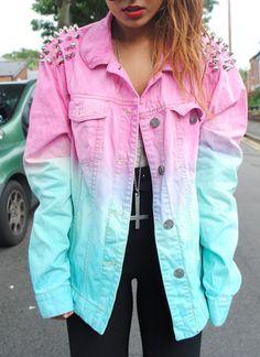 jacket, dip dyed, pink, denim, denim jacket, studded, hipster, ombre | Wheretoget.it