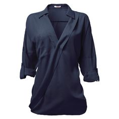 Blouse boyfriend navy, NIKKIE by Nikkie Plessen ($55) ❤ liked on Polyvore featuring tops, blouses, shirts, long sleeves, blusas, blue shirt, navy shirt, blue long sleeve shirt, boyfriend shirt and long-sleeve shirt