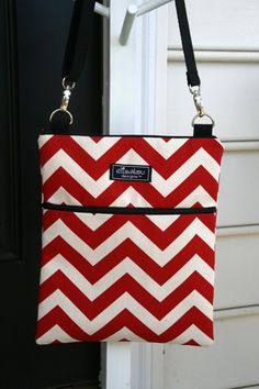 Padded Apple iPad Sling Bag Red Chevron by ElisaLou on Etsy, $44.00
