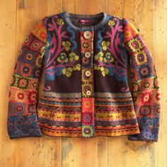 Patchwork Jacket Pattern Inspiration 34 Ideas For 2019 Punto Fair Isle, Pull Jacquard, Moda Hippie, Patchwork Patterns, Fair Isle Knitting, Jacket Pattern, Knitwear, Knitting Patterns, Knit Crochet