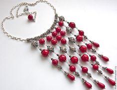 """Купить Колье из серебра и красных кораллов """"Катарина"""" красные кораллы ... - колье ручной работы"""