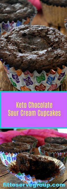 Keto Chocolate Sour Cream Cupcakes