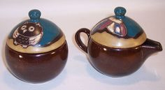 Mara Pottery Made in Mexico Sugar Bowl and Creamer with Owl and Butterfly Design