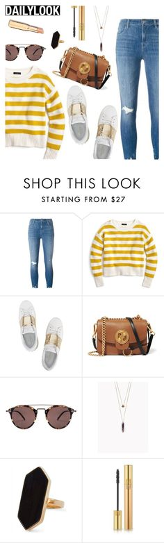 """""""DailyLook"""" by dressedbyrose ❤ liked on Polyvore featuring J Brand, J.Crew, Valentino, Chloé, Oliver Peoples, Jaeger, Yves Saint Laurent, Dailylook and polyvoreeditorial"""