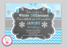 Boys Winter Snowflake Boys Birthday Invitation by The Trendy Butterfly