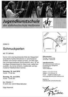 Perlen Harmony Oase: 18. - 19.06.2016 - Workshop Perlenschmuck für Kind...