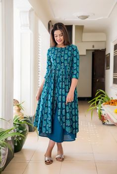 Turquoise Long Slit Block Printed Maxi Dress With Golden Motifs Casual Wear, Casual Dresses, Dresses For Work, Summer Dresses, Cotton Long Dress, Cotton Dresses, Kurtis With Pants, Kurti Collection, Maxi Dress With Slit