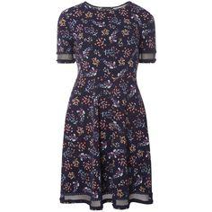 Dorothy Perkins Floral lace detail dress featuring polyvore women's fashion clothing dresses multi color colorful dresses flower print dress blue cotton dress blue jersey floral print dress