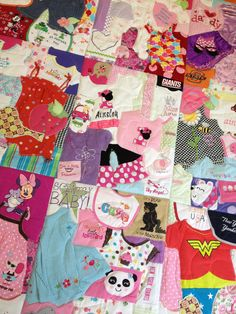 Memory Quilt - love this! Takes the typical baby clothes quilt and spins it by keeping the clothes intact!