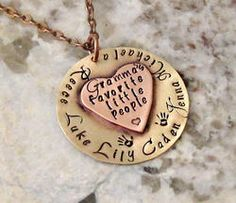 Hand Stamped Personalized Grandma Necklace
