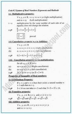 Adamjee Coaching: System of Real Numbers, Exponents and Radicals - Definitions and Formulae - Mathematics Notes for Class Algebra Activities, Math Worksheets, Maths Ncert Solutions, Math Vocabulary, Real Numbers, Math Questions, School Study Tips, Math Lessons, Definitions