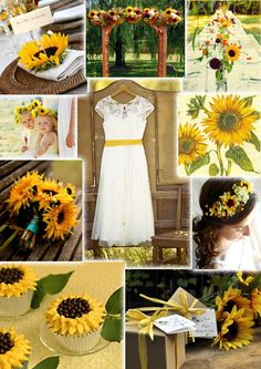 Sunflower wedding. Would rather have it as an accent but not the whole theme or maybe rehearsal dinner or bridal shower
