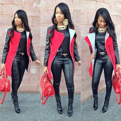 Winter Fashion Long Black Red Single Breasted Coat Black Leather Leggings Dope Outfit Pretty Girl Swag Fashionista Streetwear Urban Fashion Style Trend OOTD Black Beauty African American Beautifiedtina