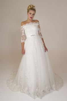Naomi - Brides by Harvee lace sleeve off the shoulder wedding dress http://www.bridesbyharvee.co.uk/naomi.html