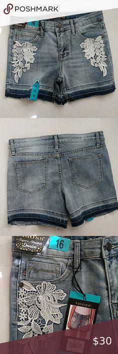 CANYON RIVER Embellished Jean Skort Belted Denim Skirt w//Shorts New Girls Sz 10