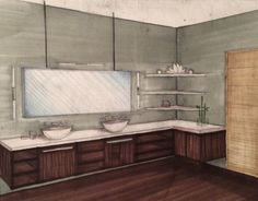 Interior 2 point perspective. Bathroom rendering. Chrisp_designs. Interior design