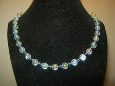 Pearlstyle necklace with light blue beads 18 by carebear1984, $10.00