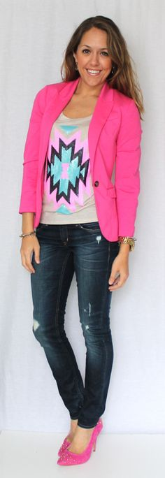 I need a pink blazer!! And this shirt is adorable. Love it all together!