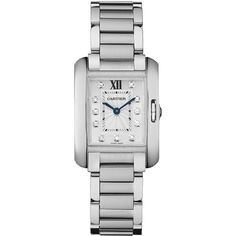 Cartier Tank Anglaise Small Diamond & Stainless Steel Bracelet Watch ($6,350) ❤ liked on Polyvore featuring jewelry, watches, diamond fine jewelry, diamond bezel watches, blue diamond jewelry, blue watches and fake diamond watches