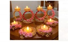 Diya Decoration Ideas, Diy Diwali Decorations, Indian Wedding Decorations, Flower Decorations, Diwali Candle Holders, Diwali Candles, Home Flower Decor, Diwali Diy, T Lights