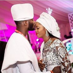 Nigerian Yoruba bride and groom during their traditional wedding ceremony