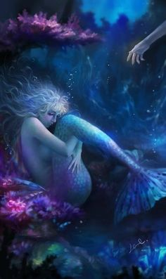 Mermaid Fantasy Art by - Japan Magical Creatures, Fantasy Creatures, Sea Creatures, Fantasy Mermaids, Mermaids And Mermen, Mermaid Fairy, Mermaid Song, Water Nymphs, Under The Sea