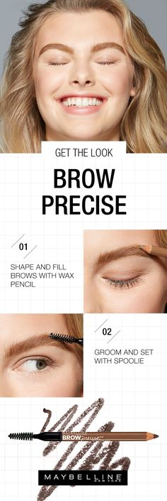 Sparse brows be gone! The Maybelline Brow Precise Shaping Pencil makes it easy to embolden your brows with a grooming brush and sharp pencil. Follow this get the look beauty tutorial to shape and define your eyebrows. Simply brush brows up, then use the pencil to shade in the gaps for added fullness. The natural wax pencil draws strokes and the brush blends and softens.