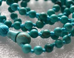 108 Turquoise Hand Knotted Mala Beads by AwakenYourKundalini