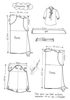 molde com as medidas de roupas femininas - Pesquisa Google