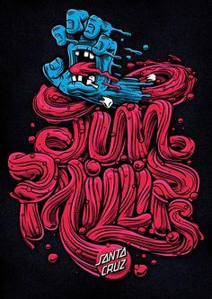Custom type for Santa Cruz Screaming Hand 30th Anniversary Art Show #santacruz #skate #typography #customtype #vector #illustration #screami