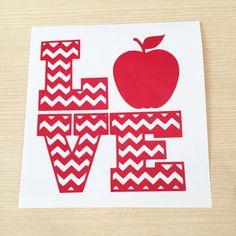 Teacher Love Apple Decal - Teacher Appreciation Gift - Teacher Laptop Decal - Teacher Gift - Student Teacher Gift - Teacher Love Car Decal by SimplyGracefulDesign on Etsy