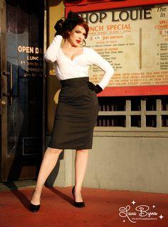 Black Pin Dot Pinup Couture pencil skirt