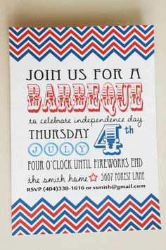 Fourth of July Barbeque Invitation Patriotic by ModInkDesign, $8.00