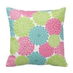 Modern Lime Green and Hot Pink Flowers Throw Pillow - Green Throw Pillows