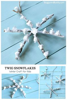 DIY Christmas Orname DIY Christmas Ornament Craft for Kids Using Twigs: Use natural materials to make a homemade snowflake ornament. Grab some sticks and tissue paper- great for fine motor practice and perfect for a wide range of ages! Diy Christmas Ornaments For Toddlers, Christmas Ornament Crafts, Winter Crafts For Kids, Christmas Paper, Christmas Activities, Christmas Tree Ornaments, Holiday Crafts, Twig Crafts, Nature Crafts